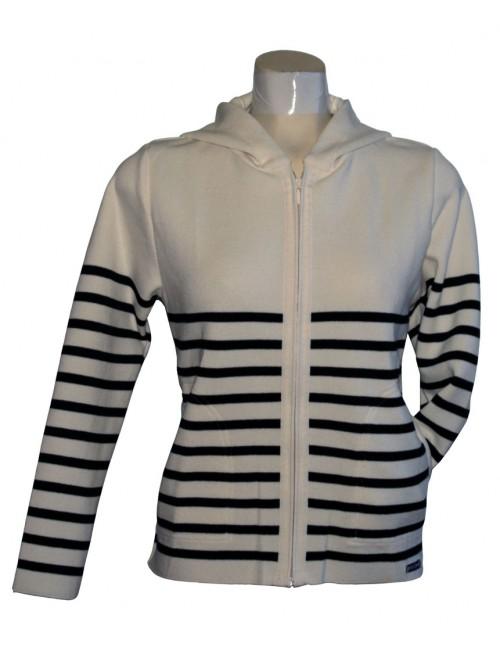 Blouson en laine femme écru/marine Marina