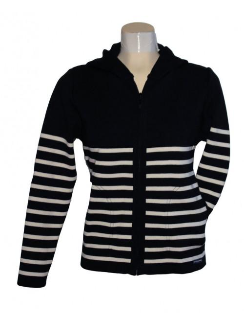 Blouson en laine Brise-lames femme avec capuche Marina rayé marine/écru