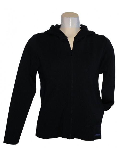 Blouson Brise-lames en laine avec capuche Marina noir