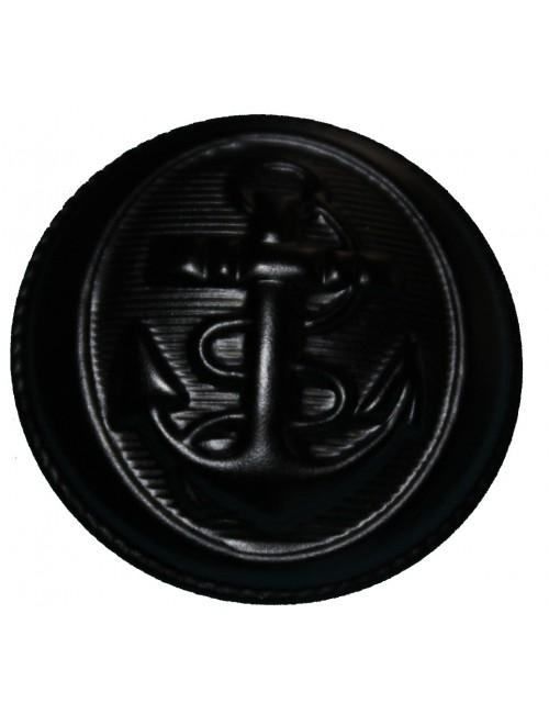 Bouton métalique de caban à queue ronde bleu marine avec ancre