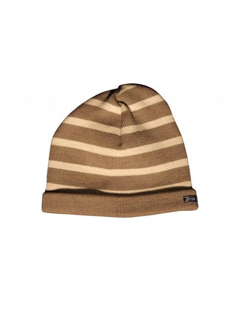 Bonnet taupe/écru en laine Brise-lames