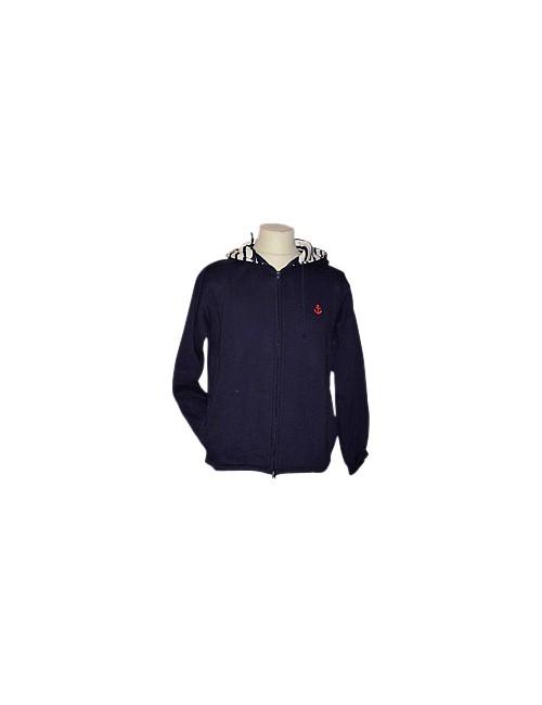 Sweat coton à capuche bleu marine