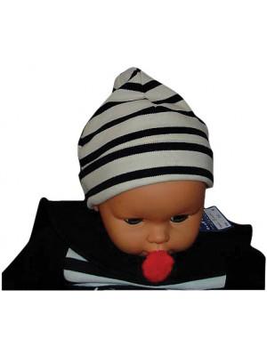 Bonnet enfant coton écru/marine