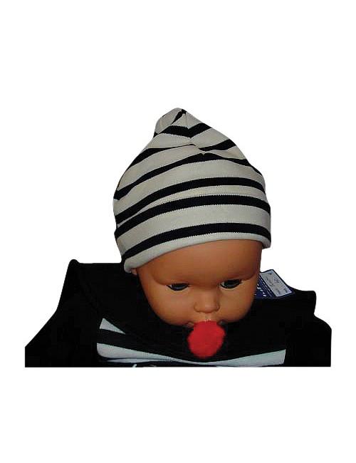 Bonnet enfant coton écru marine 8954c3bb645