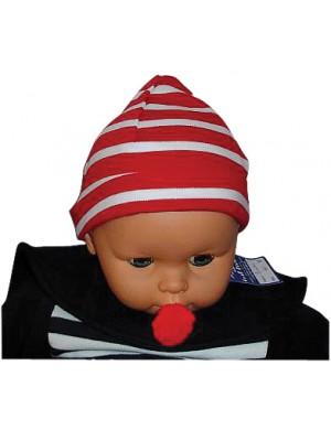 Bonnet coton bébé rouge/blanc