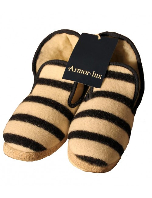 Chaussons Armor Lux rayé écru/marine