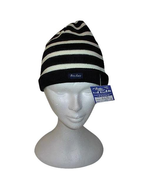 Bonnet marine/écru en laine Brise-lames
