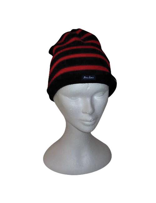 Bonnet marine/rouge en laine Brise-lames