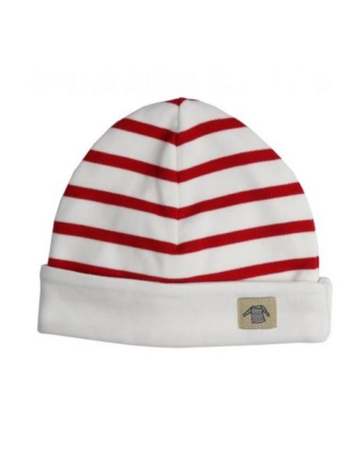 Bonnet bébé Armor-lux coton blanc/rouge