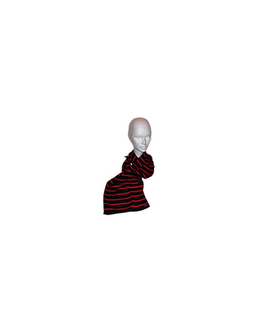 Echarpe marine/rouge en laine