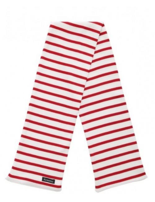 Echarpe Armor lux coton blanc/rouge
