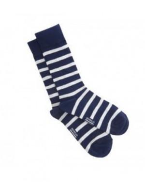 chaussettes coton Armor-lux rayé marine et blanc