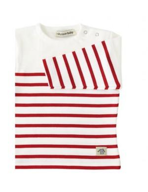 Marinière bébé Armor Lux avec empiècement blanc/rouge