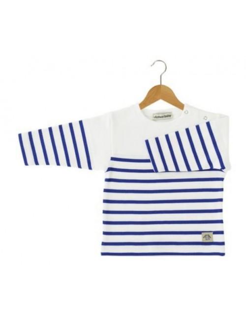 Marinière bébé Armor Lux avec empiècement blanc/bleu étoile