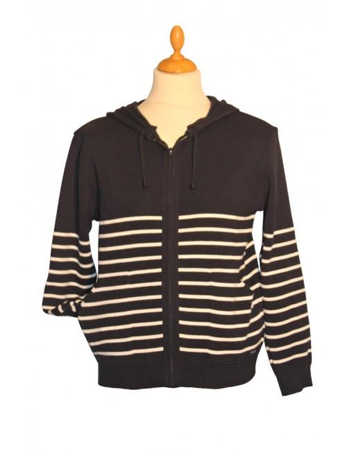 blouson en laine Brise-lames marine/écru Gwen