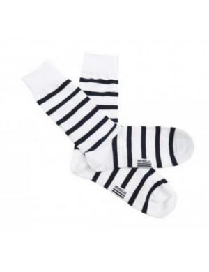 chaussettes coton Armor-lux rayé blanc et marine