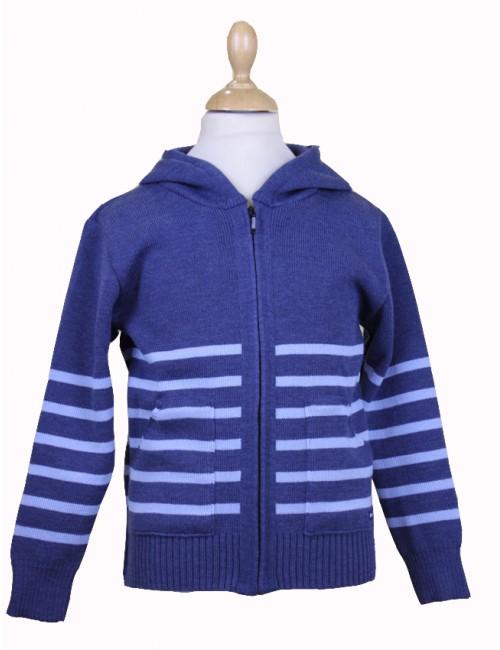 Blouson laine Brise-lames Gwen enfant jean/ciel