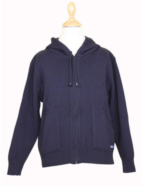 Gilet capuche en laine Brise-lames Gwen bleu marine