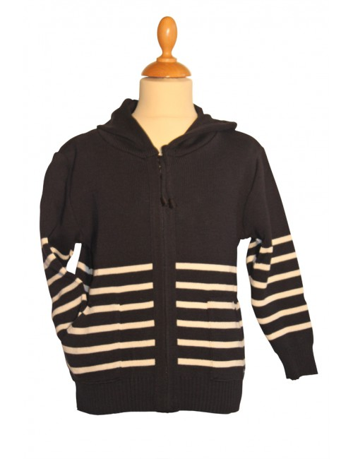 Gilet de laine Brise-lames enfant Gwen marine/écru