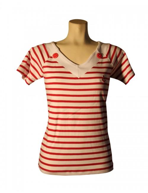Tshirt col v femme marin rayé blanc et rouge