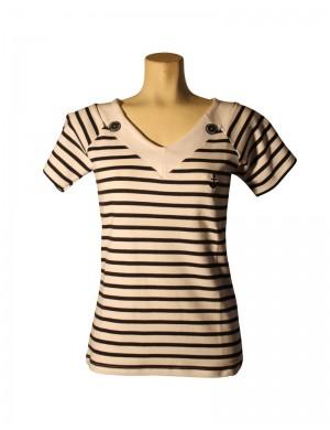 Tshirt col v femme marin rayé blanc et marine
