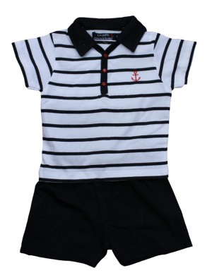 Ensemble marin bébé polo et short Lannion