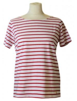 Marinière manches courtes coton léger blanc/rouge