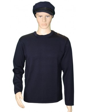 Pull Grand mât bleu marine 100% laine mérinos