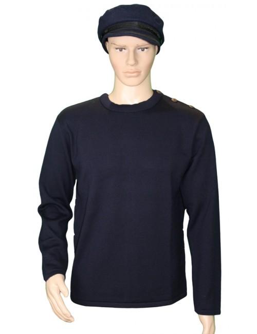Pull Grand mât bleu marine 100% laine mérinos mannequin homme
