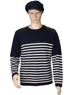 Pull Grand mât bleu marine/écru 100% laine mérinos