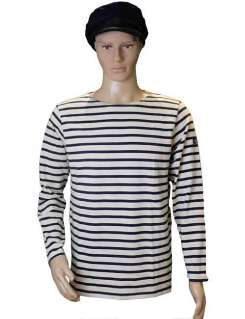 Marinière en coton brut mannequin homme Rustique écru/marine