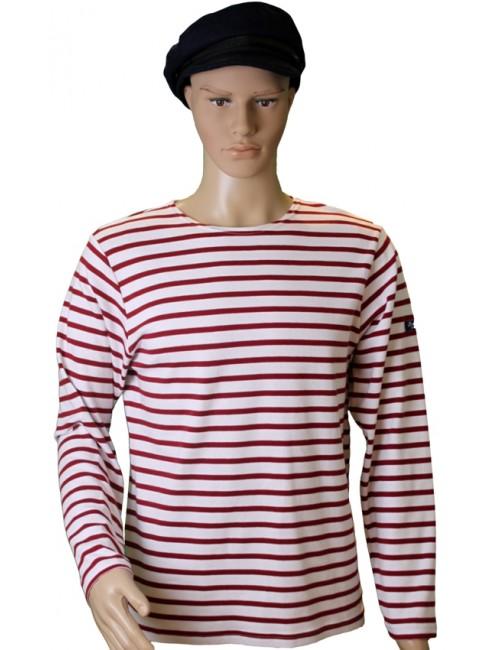 Marinière coton blanc/rouge traditionnel Brise-lames mannequin homme