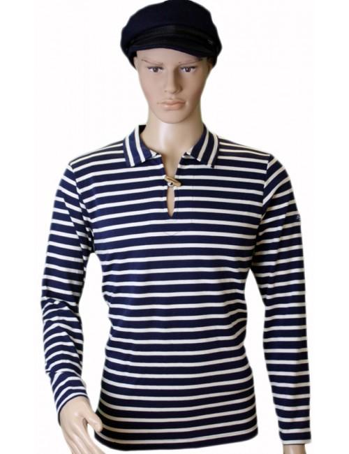 Marinière Brise-lames Cézembre bouton bois marine écru mannequin homme