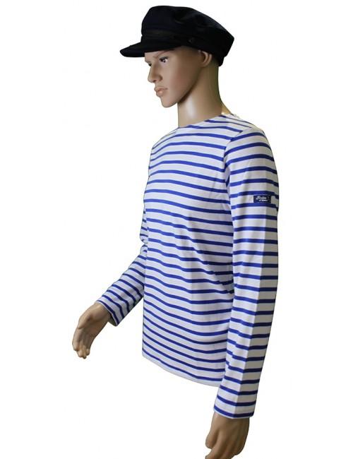 Marinière coton blanc/bleu étoile traditionnel Brise-lames mannequin homme profil