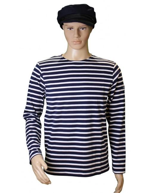 Marinière coton marine/blanc traditionnel Brise-lames mannequin homme