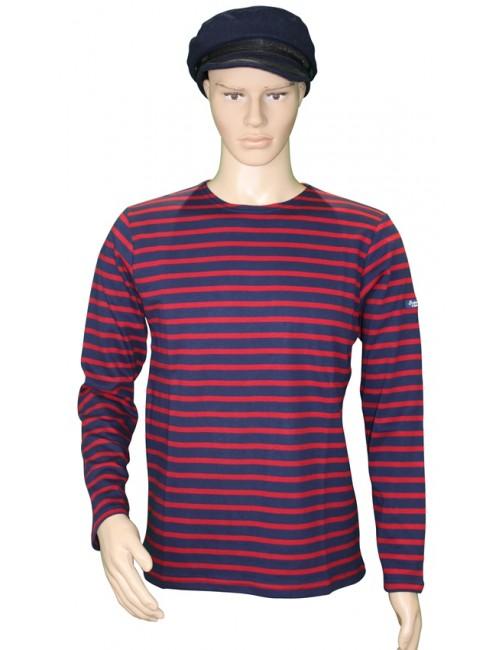 Marinière coton marine/rouge traditionnel Brise-lames mannequin homme