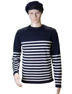 Pull Voilier marine/écru coton