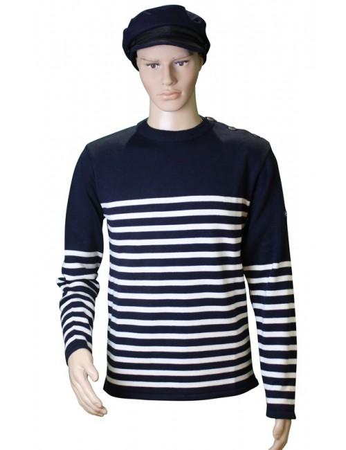 Pull Voilier marine/écru 50% coton mannequin homme