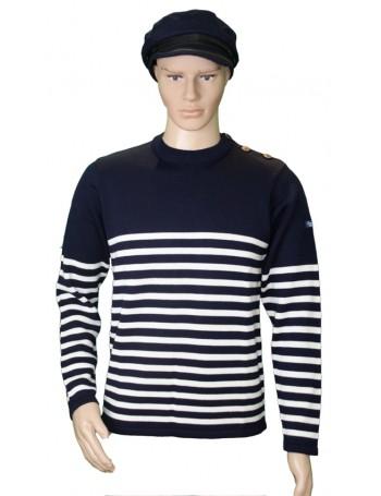 Pull Grand voile marine/écru 50% laine mérinos mannequin homme