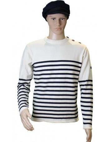 Pull Voilier écru/marine 100% coton mannequin homme