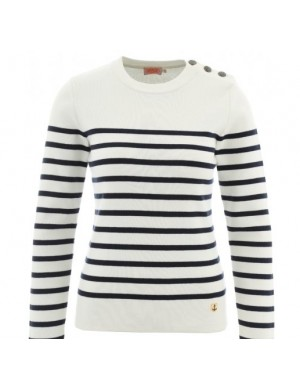 Pull marin Armor-lux coton blanc/marine