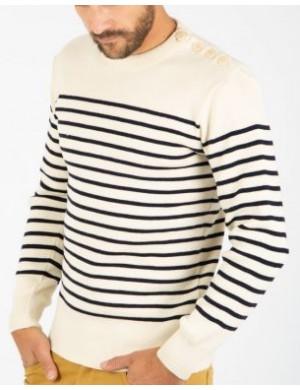Pull marin Armor-lux pure laine Molène écru/marine