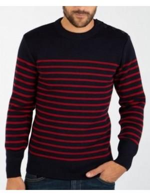 Pull marin Armor-lux pure laine Molène marine/rouge