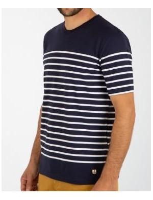 T-shirt Armor-lux Etel avec empiècement marine/blanc