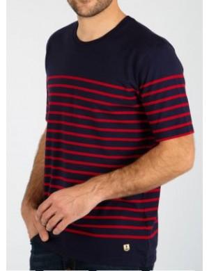 T-shirt Armor-lux Etel avec empiècement marine/rouge