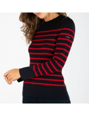 Pull femme Armor-lux Briac marine/rouge