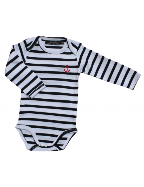 Body bébé coton rayé blanc/marine