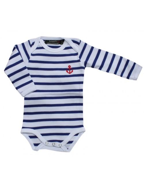 Body bébé coton rayé blanc/bleu roy