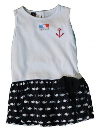 Robe fille Jeanne blanc et marine dessin de petit poisson