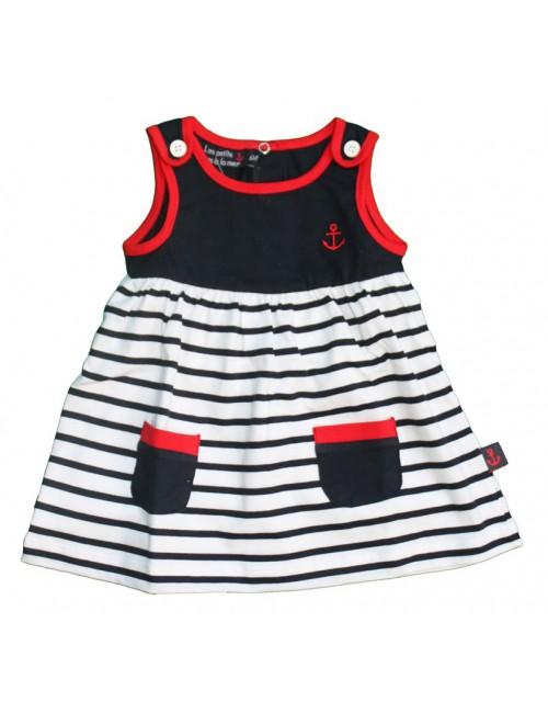 robe bébé et fillette Cassis rayé blanc et marine bordure rouge